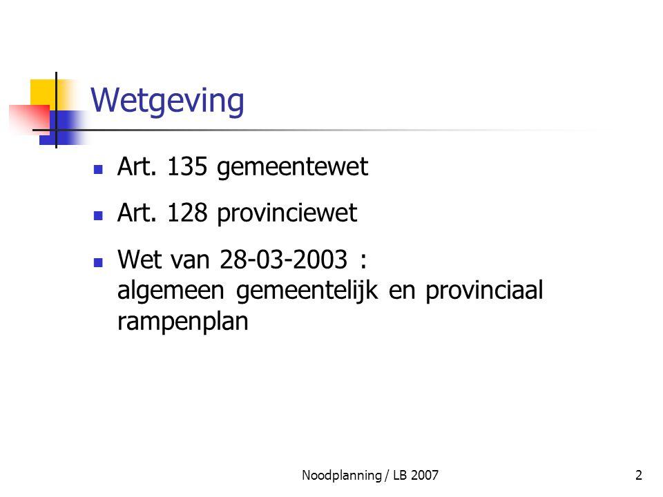 Noodplanning / LB 20073 Wetgeving Seveso-richtlijn 24-06-1982 Seveso-II-richtlijn 9-12-1996 Wet 22-05-2001 instemming samenwerkingsakkoord KB 31-03-2003 fase 4 KB 17-03-2003 nucleair KB 16-02-2006 m.b.t.
