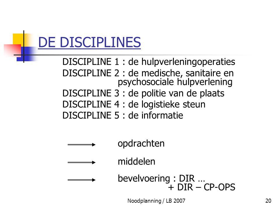 Noodplanning / LB 200720 DE DISCIPLINES DISCIPLINE 1 : de hulpverleningoperaties DISCIPLINE 2 : de medische, sanitaire en psychosociale hulpverlening