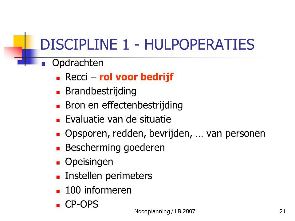 Noodplanning / LB 200721 DISCIPLINE 1 - HULPOPERATIES Opdrachten Recci – rol voor bedrijf Brandbestrijding Bron en effectenbestrijding Evaluatie van d