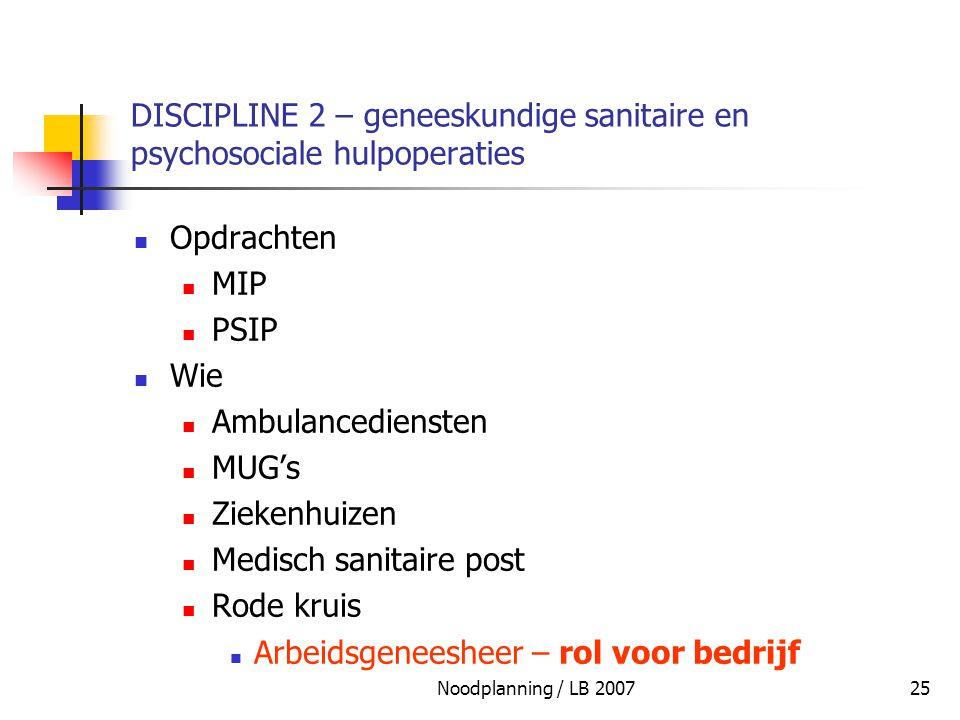 Noodplanning / LB 200725 DISCIPLINE 2 – geneeskundige sanitaire en psychosociale hulpoperaties Opdrachten MIP PSIP Wie Ambulancediensten MUG's Ziekenh