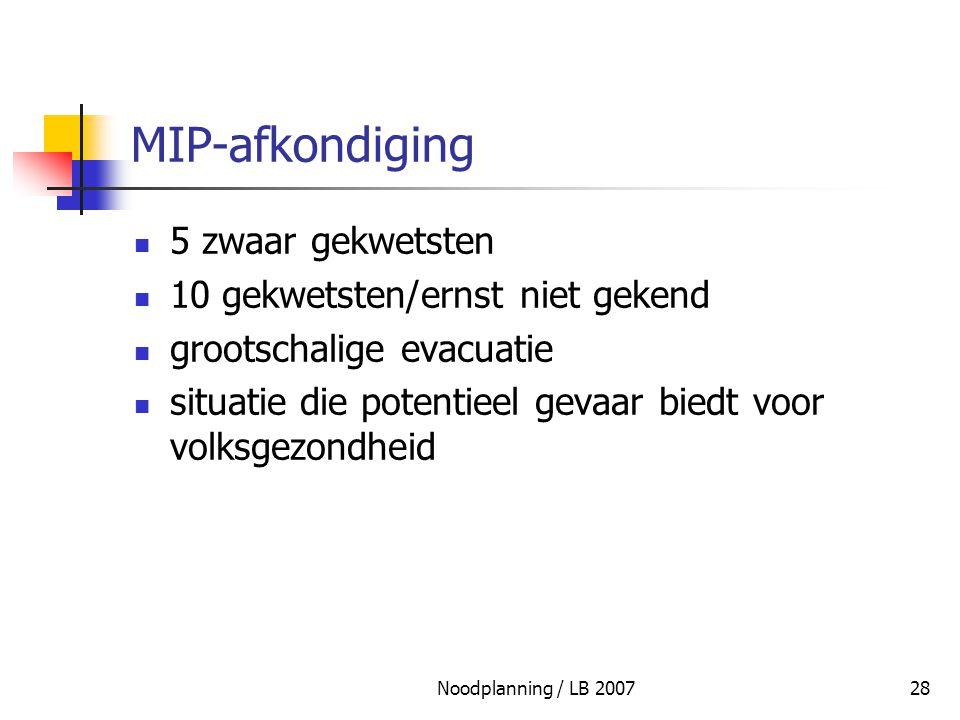 Noodplanning / LB 200728 MIP-afkondiging 5 zwaar gekwetsten 10 gekwetsten/ernst niet gekend grootschalige evacuatie situatie die potentieel gevaar bie