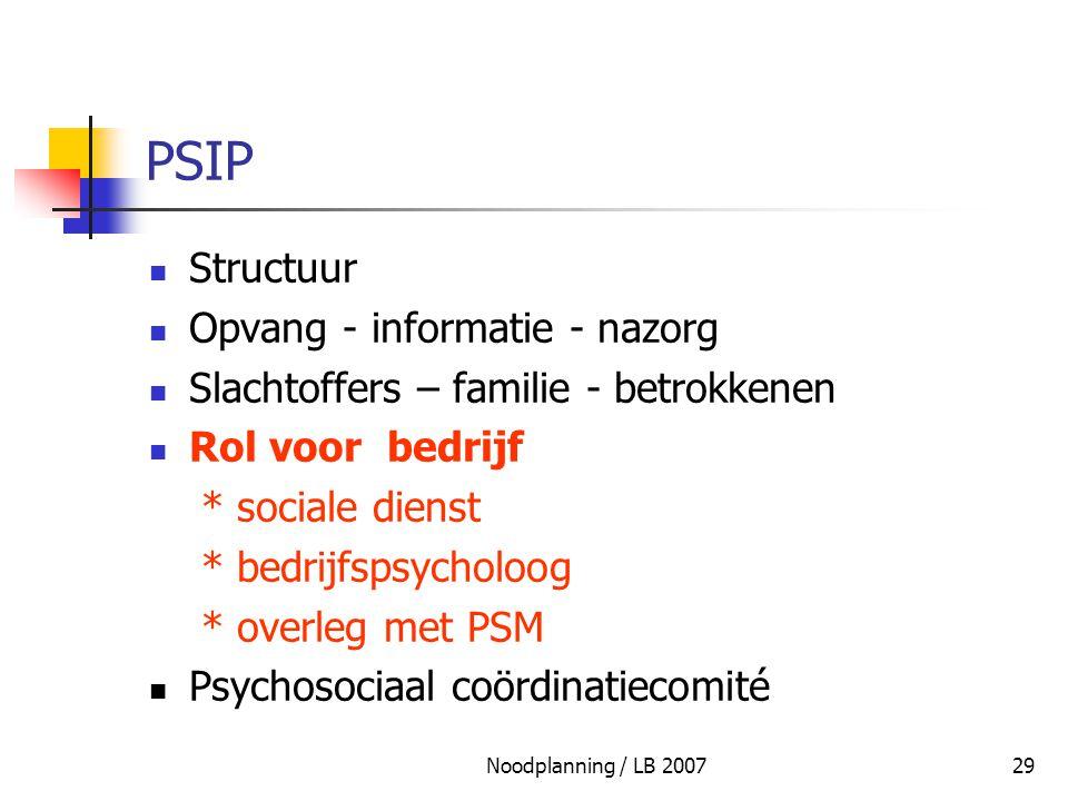 Noodplanning / LB 200729 PSIP Structuur Opvang - informatie - nazorg Slachtoffers – familie - betrokkenen Rol voor bedrijf * sociale dienst * bedrijfs