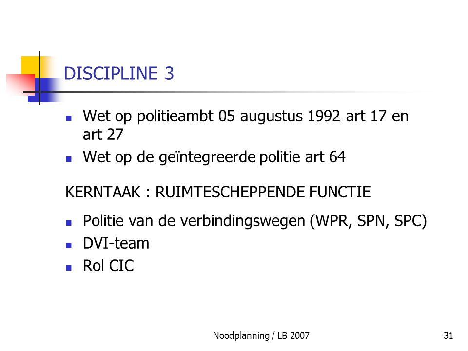 Noodplanning / LB 200731 DISCIPLINE 3 Wet op politieambt 05 augustus 1992 art 17 en art 27 Wet op de geïntegreerde politie art 64 KERNTAAK : RUIMTESCH