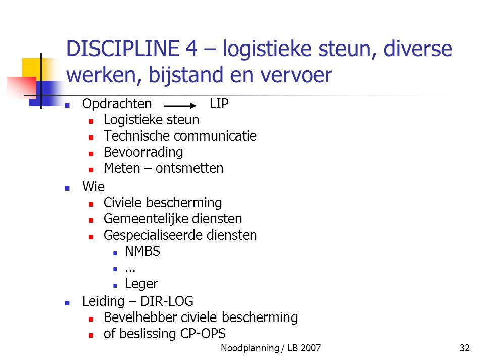 Noodplanning / LB 200732 DISCIPLINE 4 – logistieke steun, diverse werken, bijstand en vervoer Opdrachten LIP Logistieke steun Technische communicatie