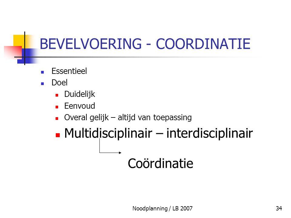 Noodplanning / LB 200734 BEVELVOERING - COORDINATIE Essentieel Doel Duidelijk Eenvoud Overal gelijk – altijd van toepassing Multidisciplinair – interd