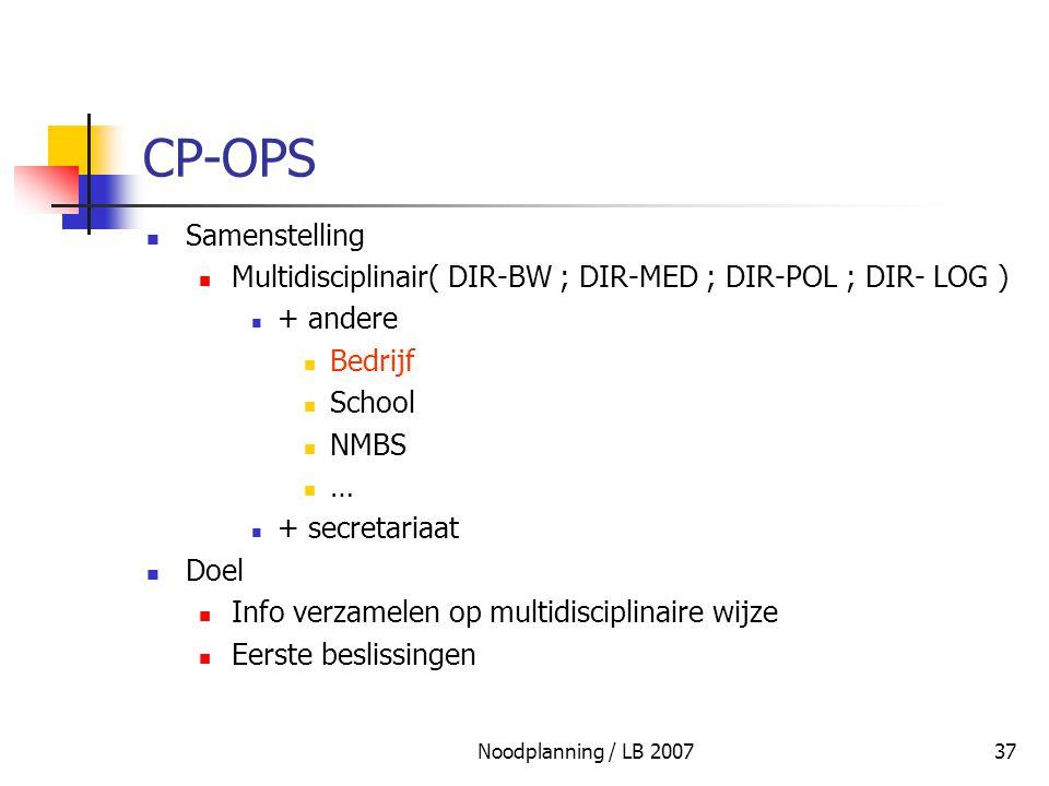 Noodplanning / LB 200737 CP-OPS Samenstelling Multidisciplinair( DIR-BW ; DIR-MED ; DIR-POL ; DIR- LOG ) + andere Bedrijf School NMBS … + secretariaat
