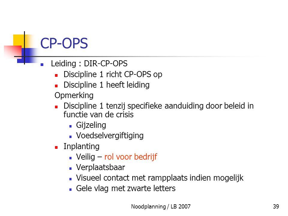 Noodplanning / LB 200739 CP-OPS Leiding : DIR-CP-OPS Discipline 1 richt CP-OPS op Discipline 1 heeft leiding Opmerking Discipline 1 tenzij specifieke