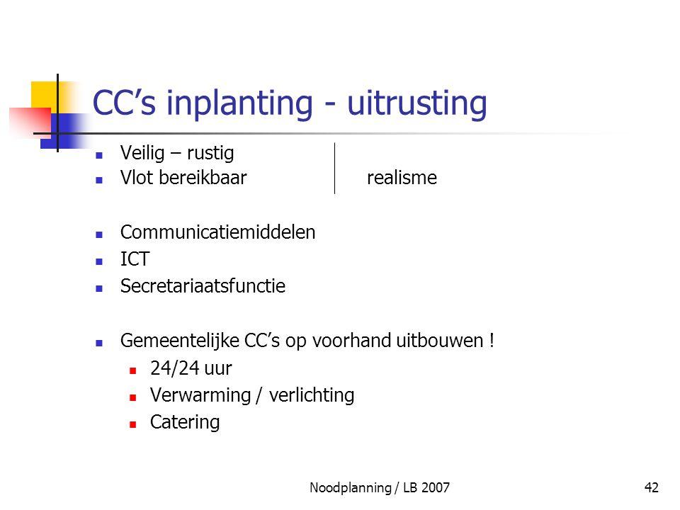 Noodplanning / LB 200742 CC's inplanting - uitrusting Veilig – rustig Vlot bereikbaarrealisme Communicatiemiddelen ICT Secretariaatsfunctie Gemeenteli