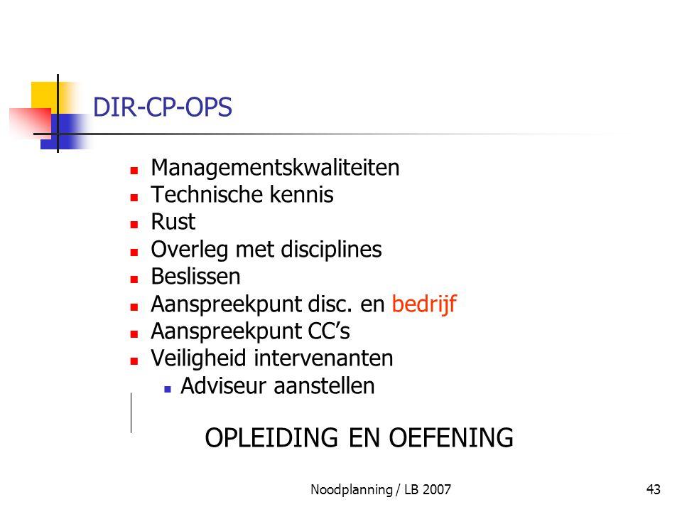 Noodplanning / LB 200743 DIR-CP-OPS Managementskwaliteiten Technische kennis Rust Overleg met disciplines Beslissen Aanspreekpunt disc. en bedrijf Aan