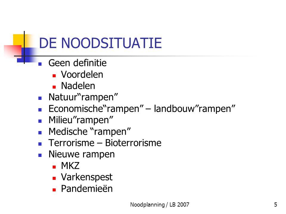 """Noodplanning / LB 20075 DE NOODSITUATIE Geen definitie Voordelen Nadelen Natuur""""rampen"""" Economische""""rampen"""" – landbouw""""rampen"""" Milieu""""rampen"""" Medische"""
