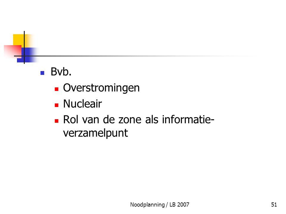 Noodplanning / LB 200751 Bvb. Overstromingen Nucleair Rol van de zone als informatie- verzamelpunt