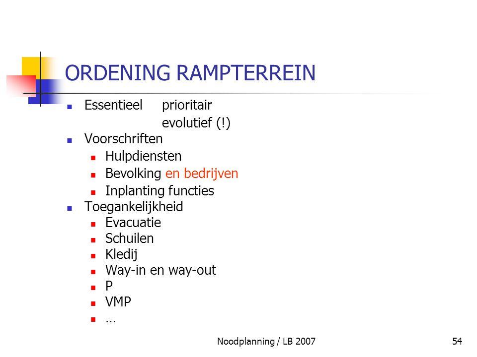 Noodplanning / LB 200754 ORDENING RAMPTERREIN Essentieel prioritair evolutief (!) Voorschriften Hulpdiensten Bevolking en bedrijven Inplanting functie