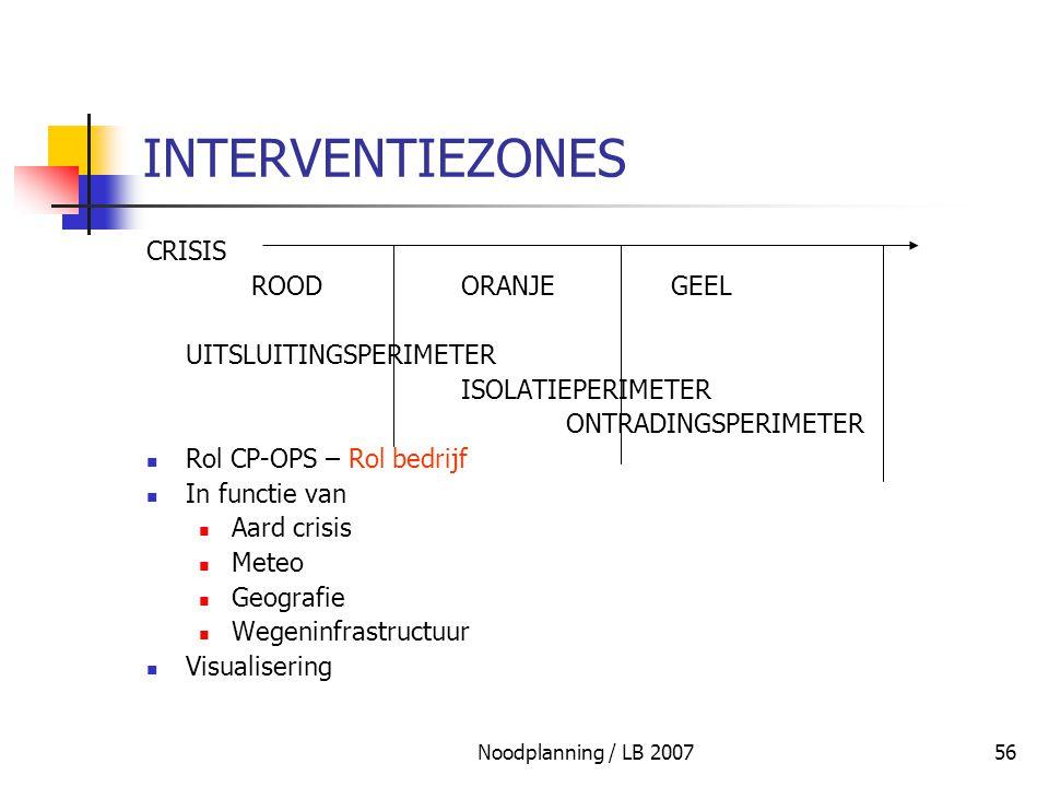 Noodplanning / LB 200756 INTERVENTIEZONES CRISIS ROODORANJEGEEL UITSLUITINGSPERIMETER ISOLATIEPERIMETER ONTRADINGSPERIMETER Rol CP-OPS – Rol bedrijf I