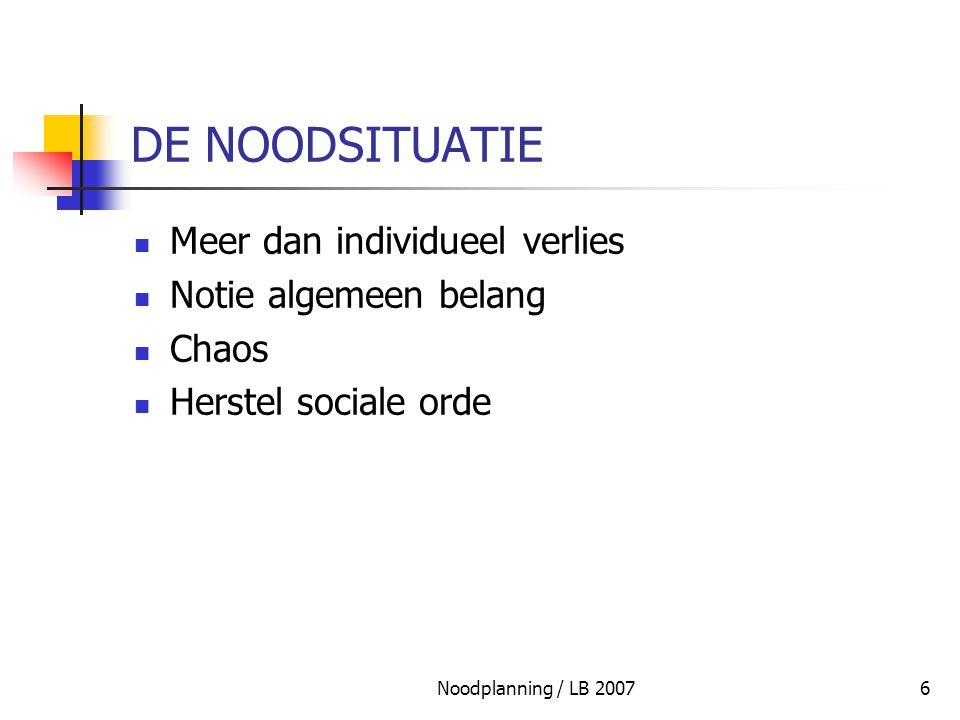 Noodplanning / LB 200797 CONCLUSIE INTERN NOODPLAN : ESSENTIEEL DOCUMENT NOOD AAN STRUCTUUR NOOD AAN ACTIEFICHES VOORAFGAANDE & PERMANENTE RISICOANALYSE NOOD AAN INTERNE BELEIDSSTRUCTUUR