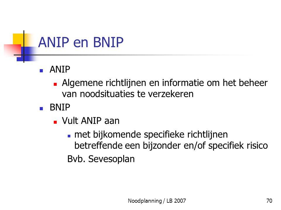 Noodplanning / LB 200770 ANIP en BNIP ANIP Algemene richtlijnen en informatie om het beheer van noodsituaties te verzekeren BNIP Vult ANIP aan met bij