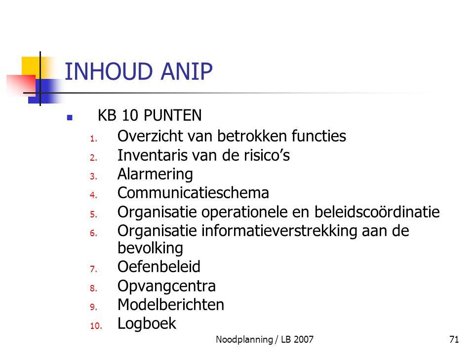 Noodplanning / LB 200771 INHOUD ANIP KB 10 PUNTEN 1. Overzicht van betrokken functies 2. Inventaris van de risico's 3. Alarmering 4. Communicatieschem