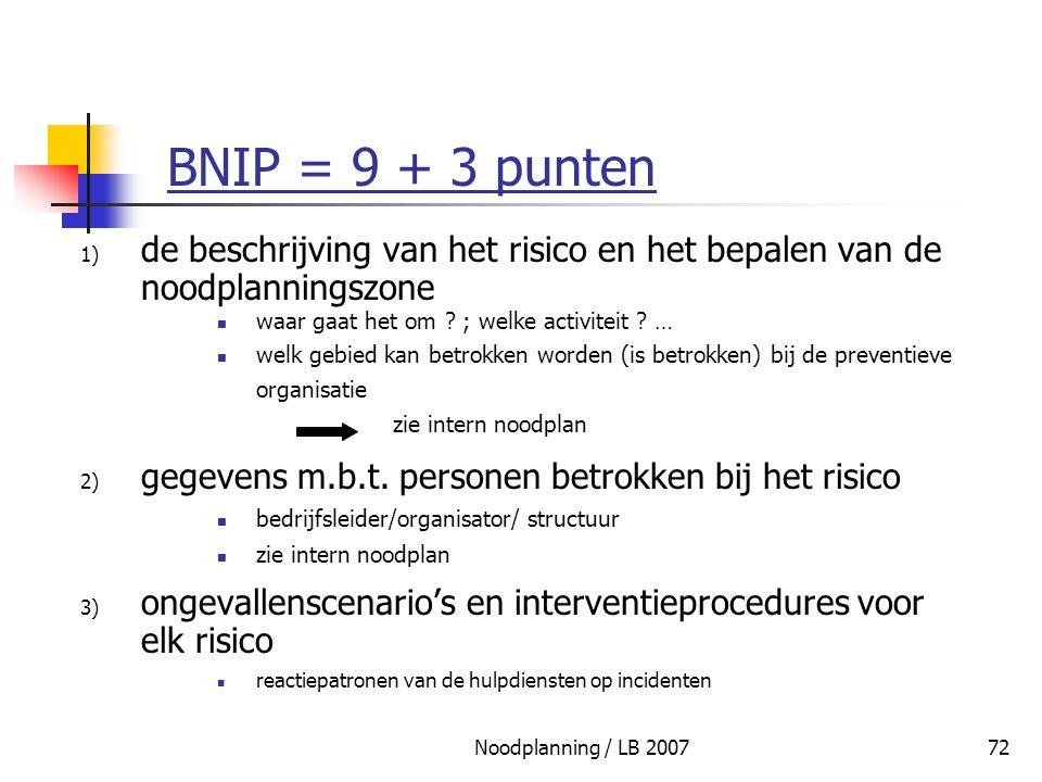 Noodplanning / LB 200772 BNIP = 9 + 3 punten 1) de beschrijving van het risico en het bepalen van de noodplanningszone waar gaat het om ? ; welke acti
