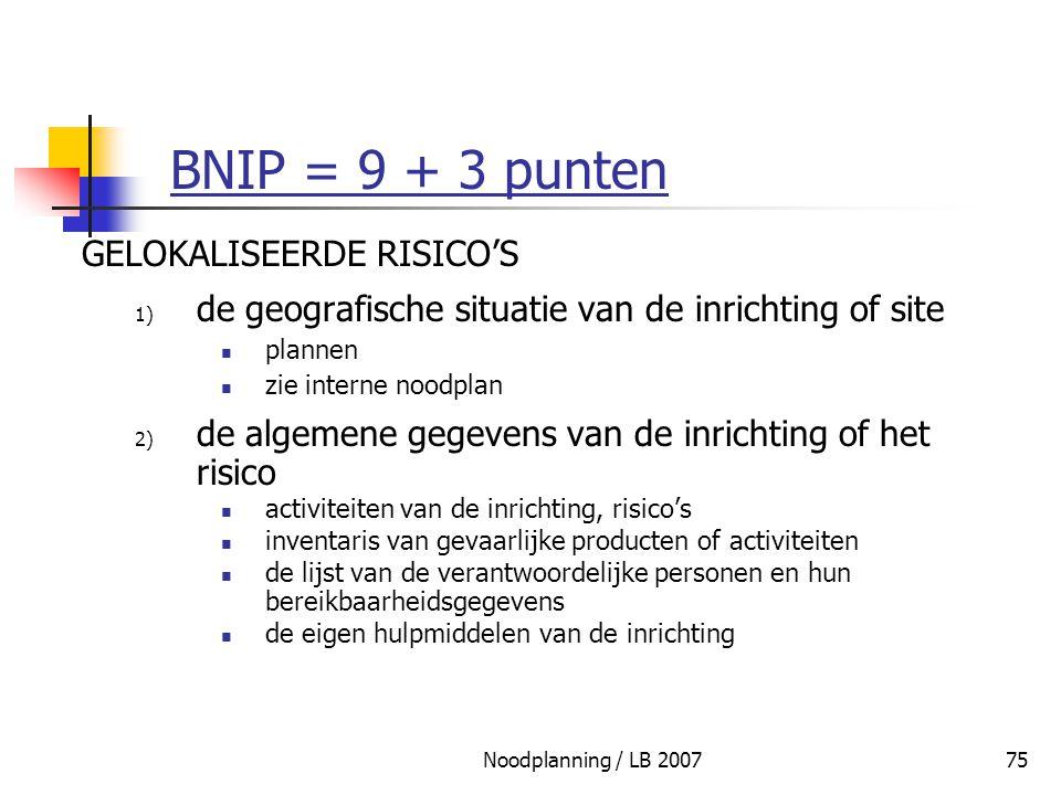 Noodplanning / LB 200775 BNIP = 9 + 3 punten GELOKALISEERDE RISICO'S 1) de geografische situatie van de inrichting of site plannen zie interne noodpla