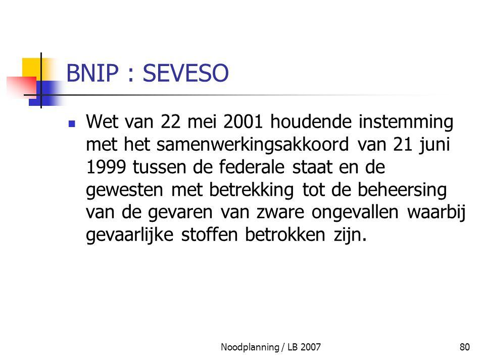 Noodplanning / LB 200780 BNIP : SEVESO Wet van 22 mei 2001 houdende instemming met het samenwerkingsakkoord van 21 juni 1999 tussen de federale staat