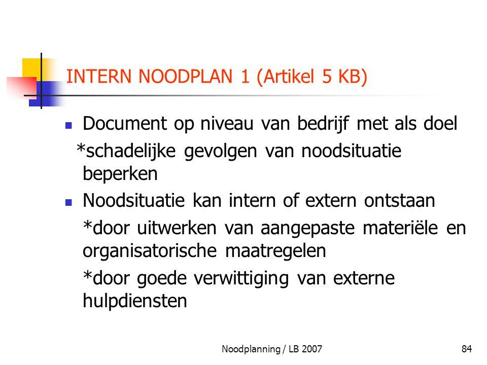 Noodplanning / LB 200784 INTERN NOODPLAN 1 (Artikel 5 KB) Document op niveau van bedrijf met als doel *schadelijke gevolgen van noodsituatie beperken
