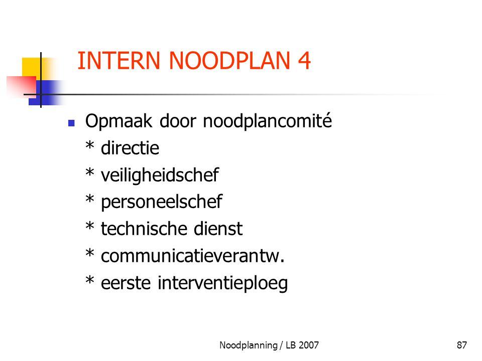 Noodplanning / LB 200787 INTERN NOODPLAN 4 Opmaak door noodplancomité * directie * veiligheidschef * personeelschef * technische dienst * communicatie