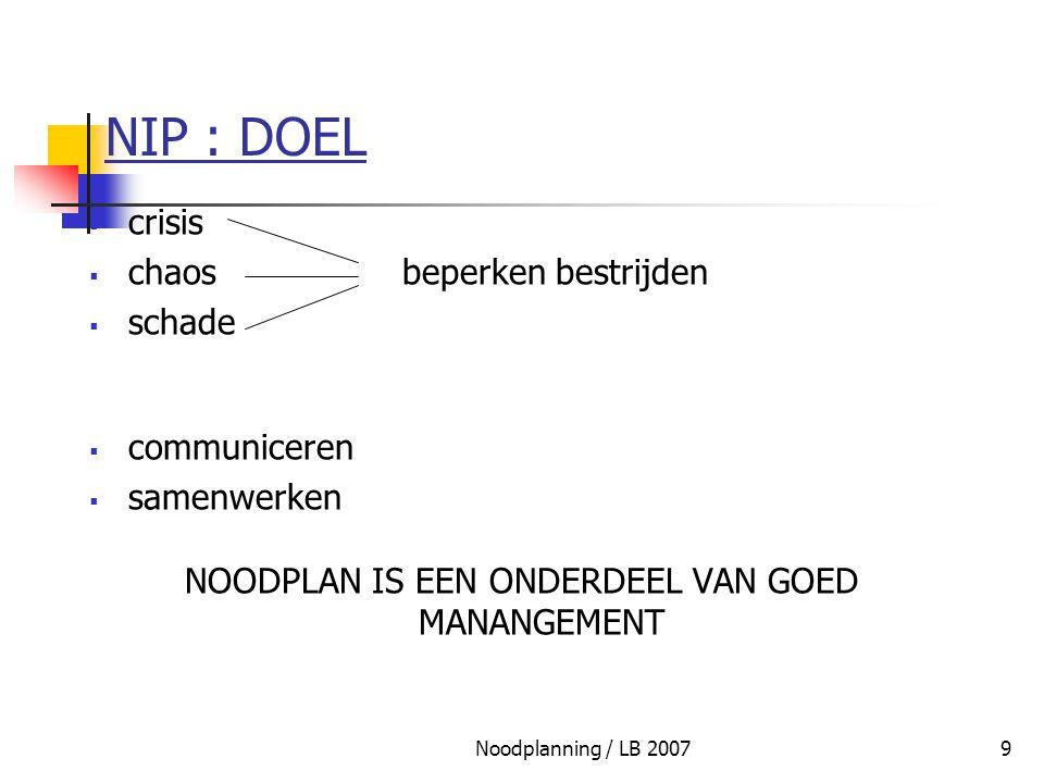 Noodplanning / LB 20079 NIP : DOEL  crisis  chaosbeperken bestrijden  schade  communiceren  samenwerken NOODPLAN IS EEN ONDERDEEL VAN GOED MANANG