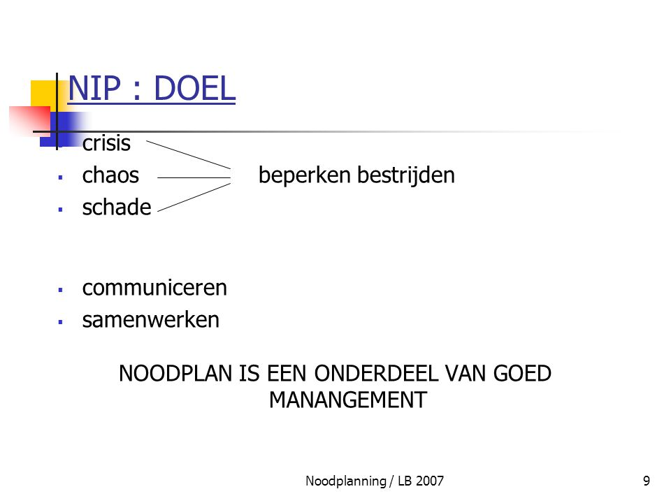 Noodplanning / LB 200750 SPINNENWEBSTRUCTUUR CC-FEDCC-PROV CC-GEMCC-GEMCC-GEM CP-OPSCP-OPSCP-OPS