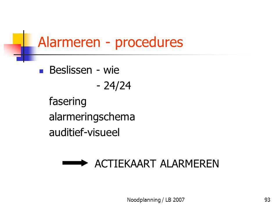 Noodplanning / LB 200793 Alarmeren - procedures Beslissen - wie - 24/24 fasering alarmeringschema auditief-visueel ACTIEKAART ALARMEREN