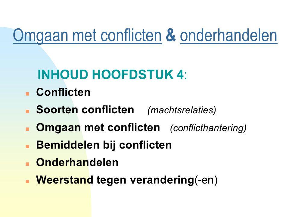 Omgaan met conflicten & onderhandelen INHOUD HOOFDSTUK 4: n Conflicten n Soorten conflicten (machtsrelaties) n Omgaan met conflicten (conflicthantering) n Bemiddelen bij conflicten n Onderhandelen n Weerstand tegen verandering(-en)