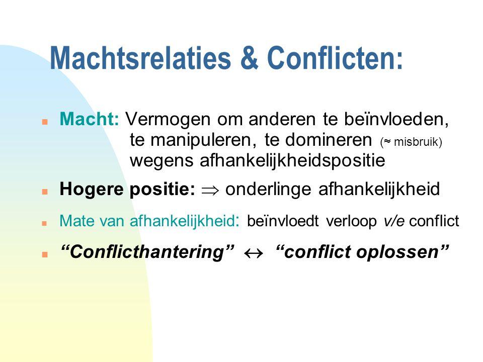 Machtsrelaties & Conflicten: n Macht: Vermogen om anderen te beïnvloeden, te manipuleren, te domineren (  misbruik) wegens afhankelijkheidspositie n Hogere positie:  onderlinge afhankelijkheid n Mate van afhankelijkheid : beïnvloedt verloop v/e conflict n Conflicthantering  conflict oplossen