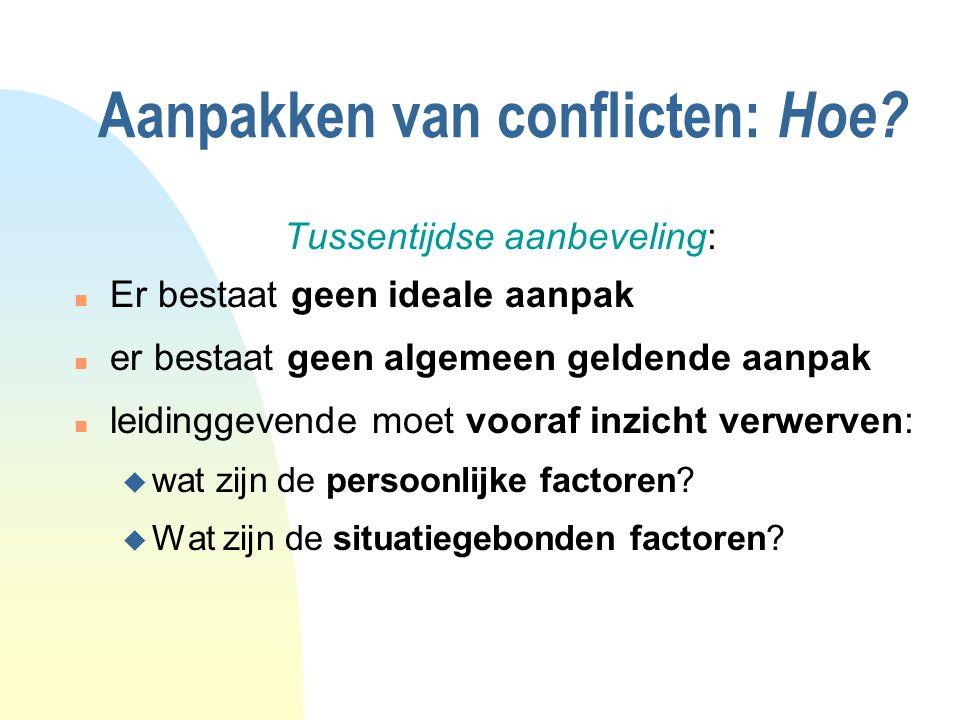 Aanpakken van conflicten: Hoe.