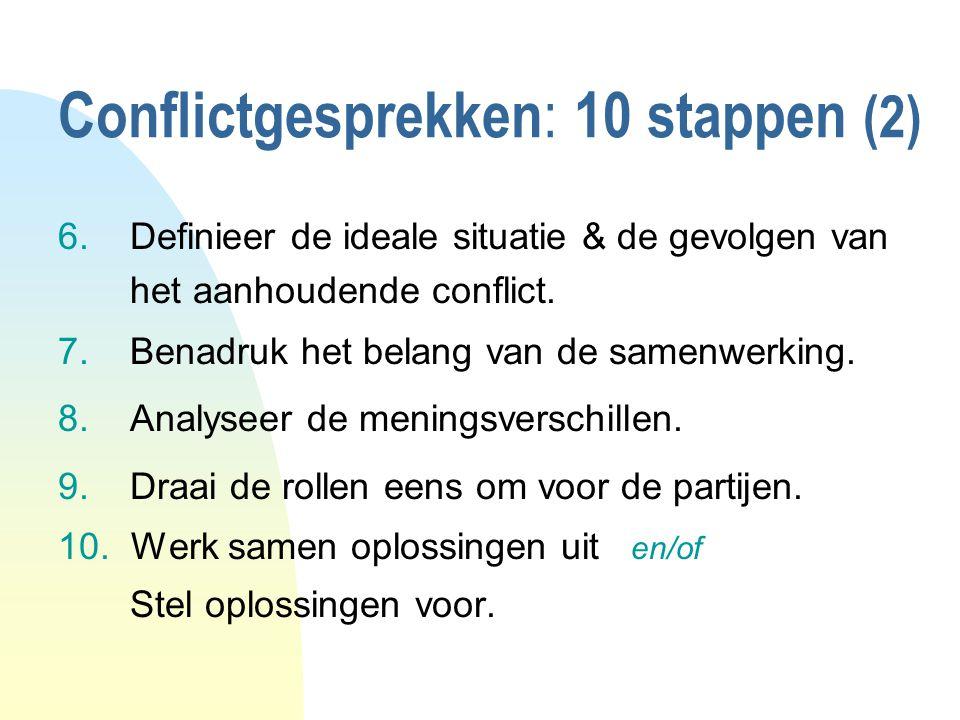 Conflictgesprekken : 10 stappen (2) 6.