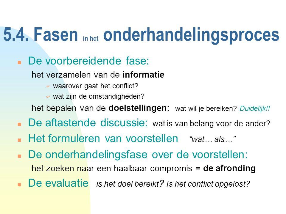 5.4. Fasen in het onderhandelingsproces n De voorbereidende fase: het verzamelen van de informatie F waarover gaat het conflict? F wat zijn de omstand