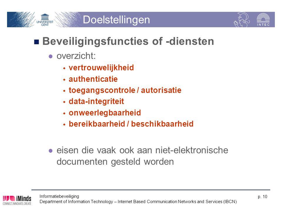 Doelstellingen Beveiligingsfuncties of -diensten overzicht:  vertrouwelijkheid  authenticatie  toegangscontrole / autorisatie  data-integriteit 