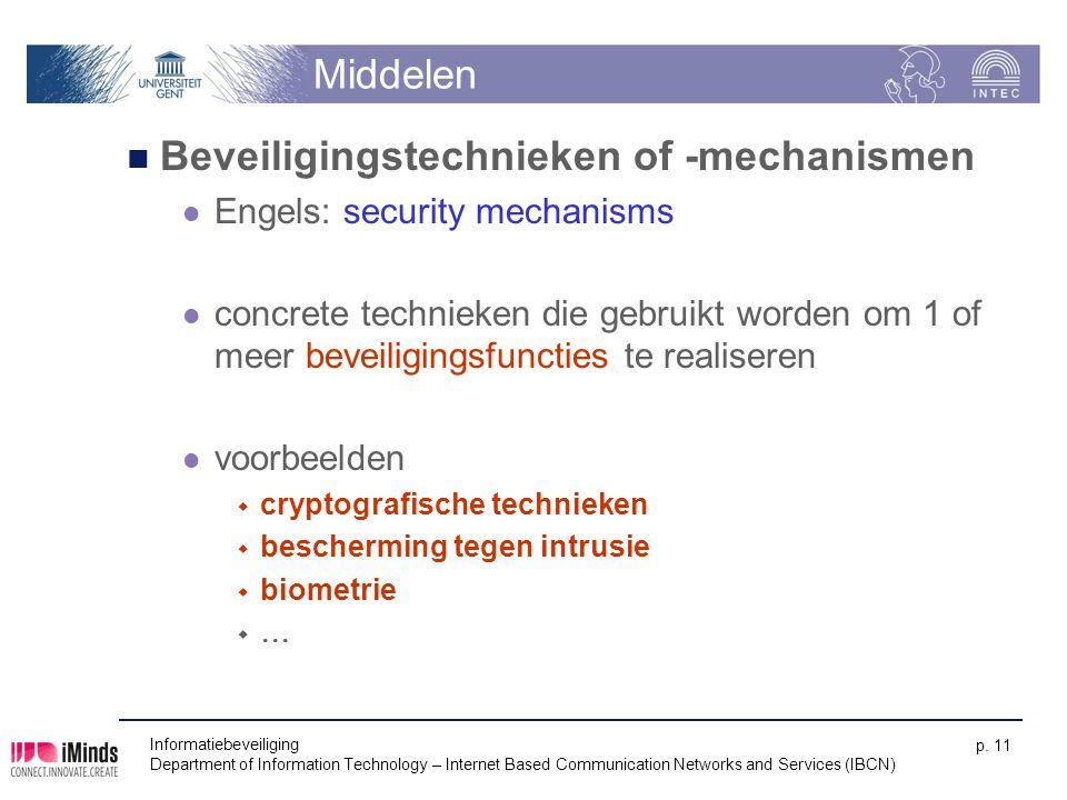 Middelen Beveiligingstechnieken of -mechanismen Engels: security mechanisms concrete technieken die gebruikt worden om 1 of meer beveiligingsfuncties
