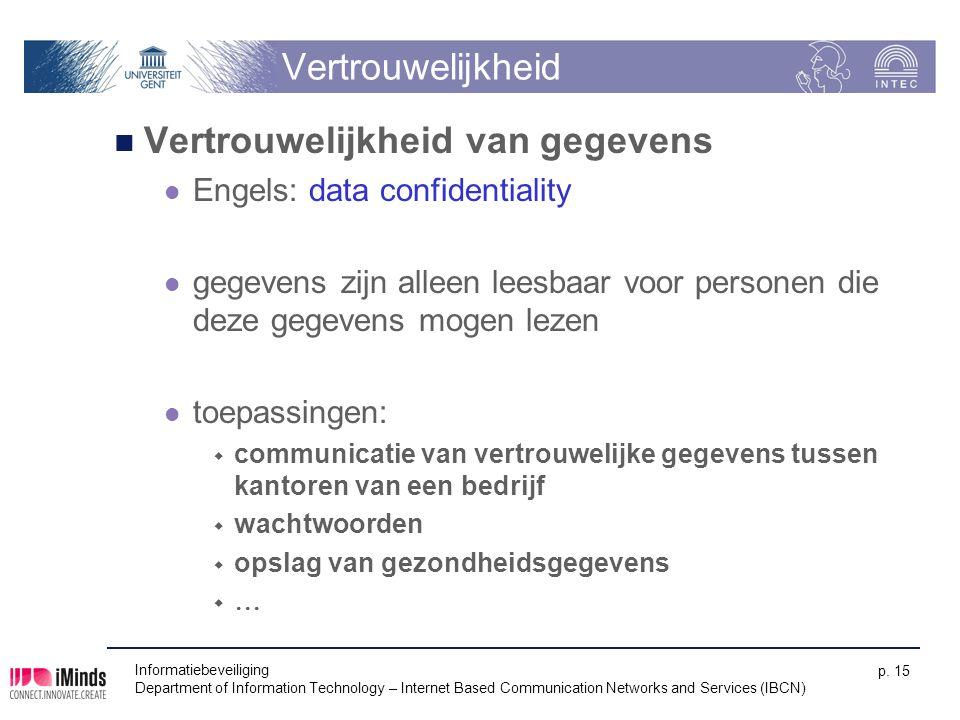 Vertrouwelijkheid Vertrouwelijkheid van gegevens Engels: data confidentiality gegevens zijn alleen leesbaar voor personen die deze gegevens mogen leze