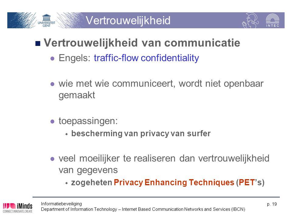 Vertrouwelijkheid Vertrouwelijkheid van communicatie Engels: traffic-flow confidentiality wie met wie communiceert, wordt niet openbaar gemaakt toepas