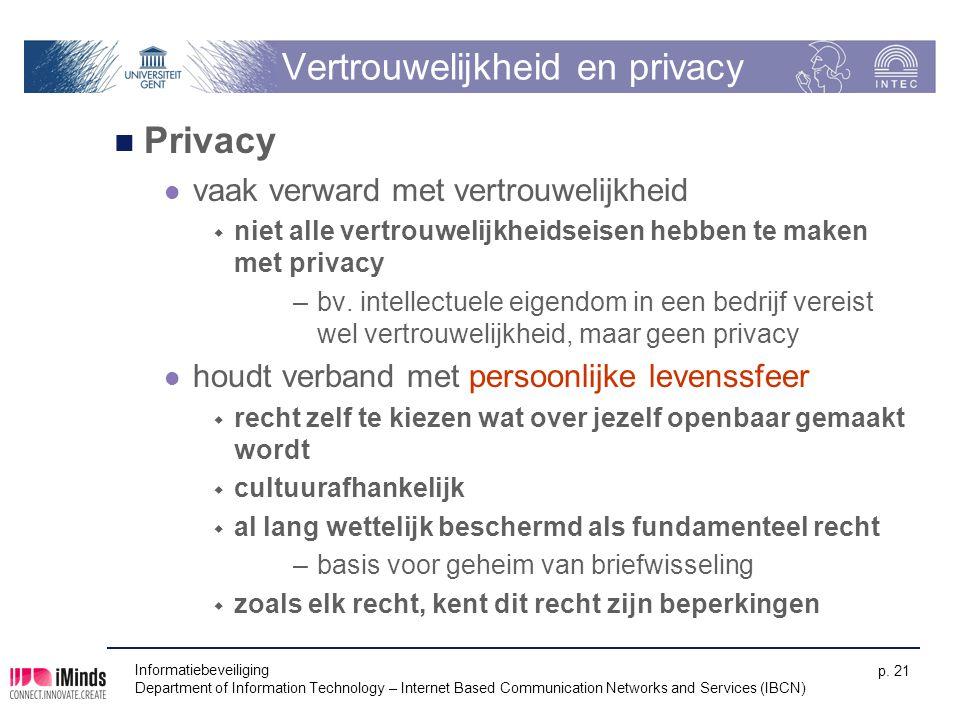 Vertrouwelijkheid en privacy Privacy vaak verward met vertrouwelijkheid  niet alle vertrouwelijkheidseisen hebben te maken met privacy –bv. intellect