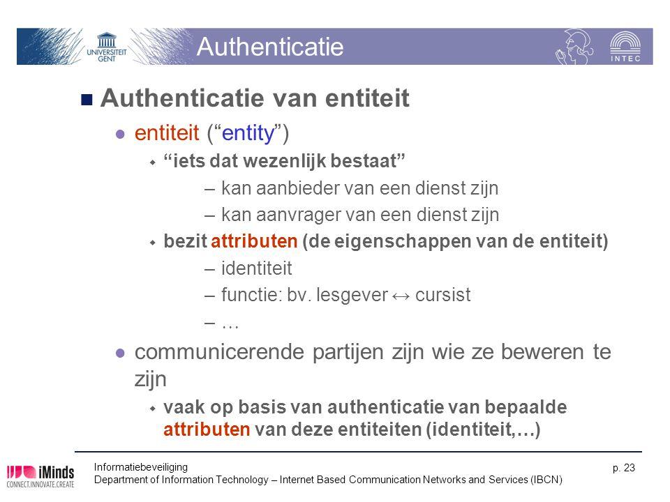 """Authenticatie Authenticatie van entiteit entiteit (""""entity"""")  """"iets dat wezenlijk bestaat"""" –kan aanbieder van een dienst zijn –kan aanvrager van een"""