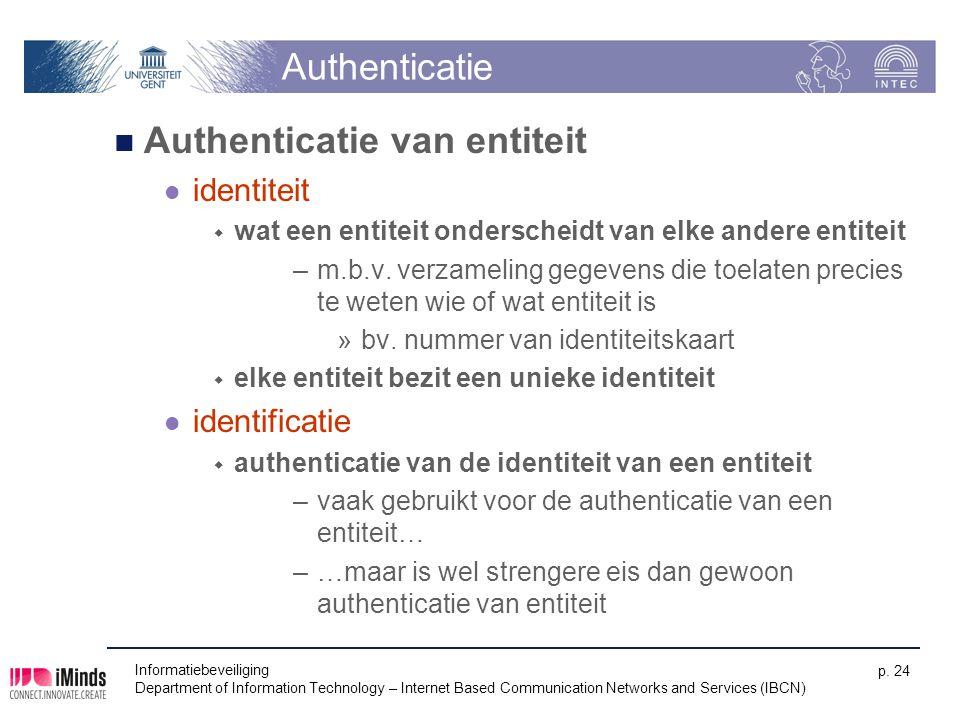 Authenticatie Authenticatie van entiteit identiteit  wat een entiteit onderscheidt van elke andere entiteit –m.b.v. verzameling gegevens die toelaten