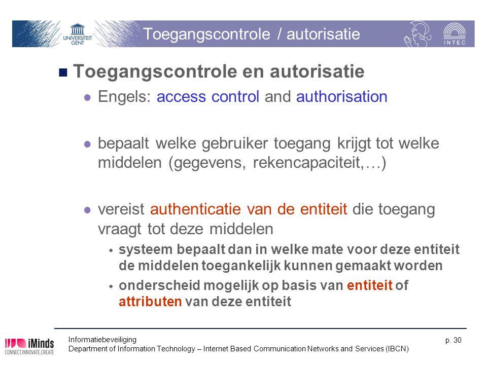 Toegangscontrole / autorisatie Toegangscontrole en autorisatie Engels: access control and authorisation bepaalt welke gebruiker toegang krijgt tot wel