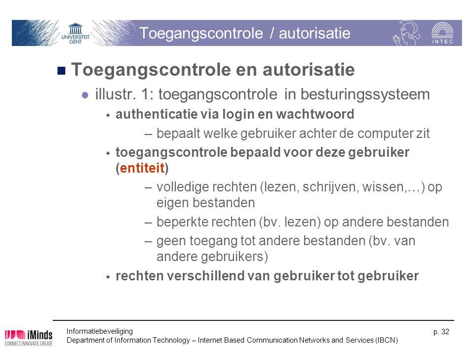Toegangscontrole / autorisatie Toegangscontrole en autorisatie illustr. 1: toegangscontrole in besturingssysteem  authenticatie via login en wachtwoo