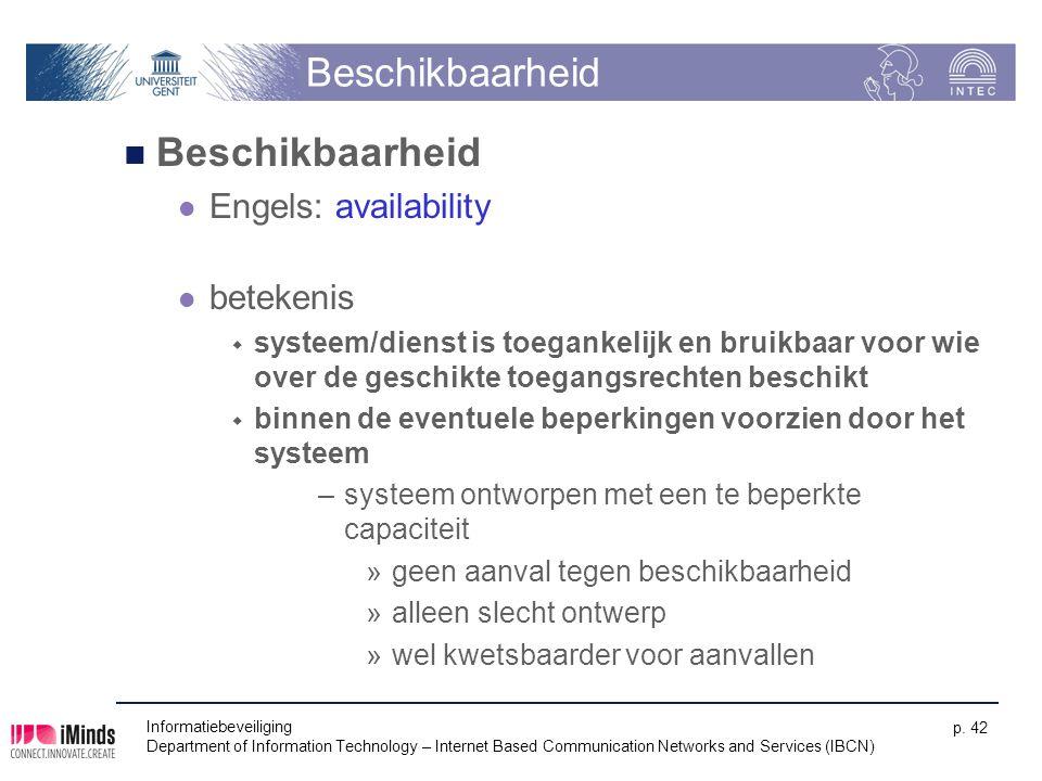 Beschikbaarheid Engels: availability betekenis  systeem/dienst is toegankelijk en bruikbaar voor wie over de geschikte toegangsrechten beschikt  bin