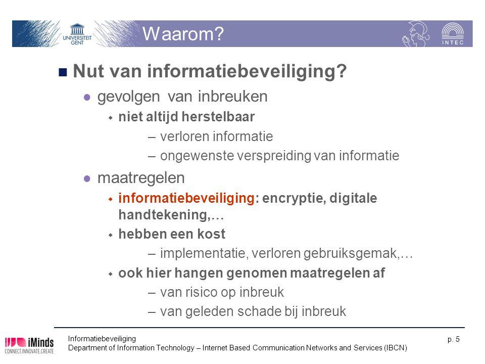 Waarom? Nut van informatiebeveiliging? gevolgen van inbreuken  niet altijd herstelbaar –verloren informatie –ongewenste verspreiding van informatie m