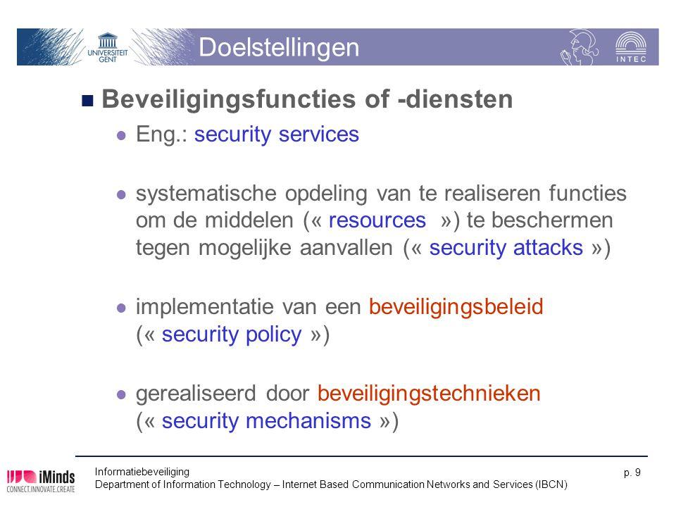 Doelstellingen Beveiligingsfuncties of -diensten Eng.: security services systematische opdeling van te realiseren functies om de middelen (« resources