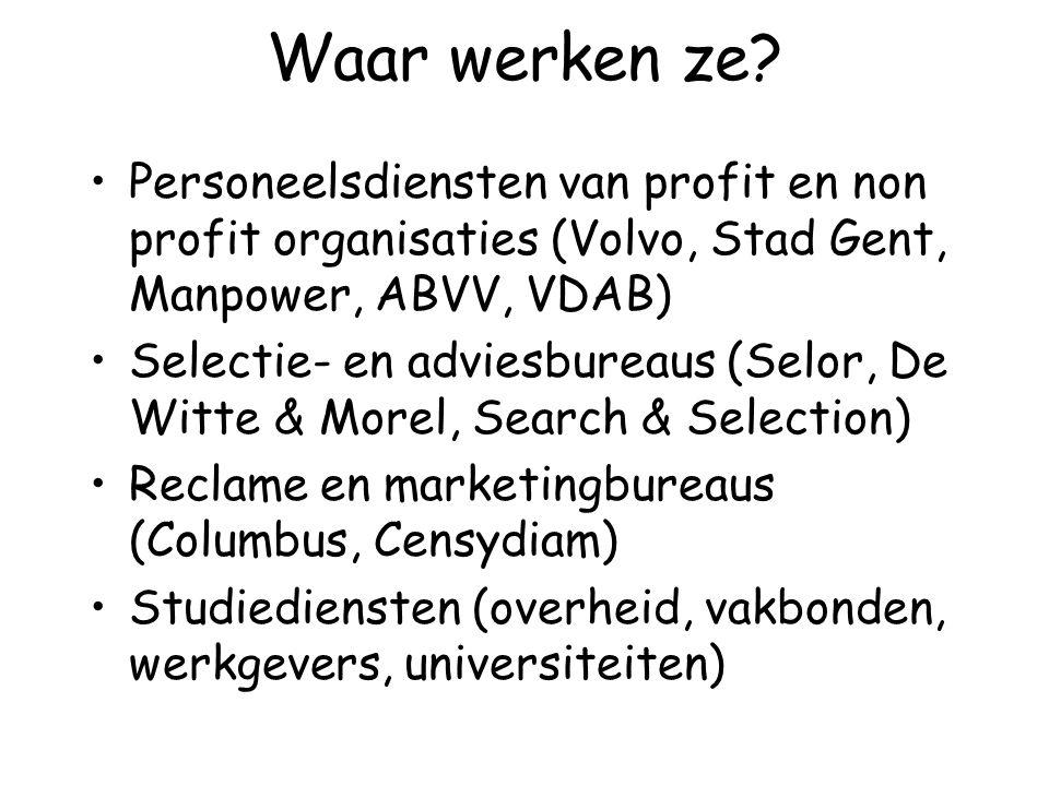 Waar werken ze? Personeelsdiensten van profit en non profit organisaties (Volvo, Stad Gent, Manpower, ABVV, VDAB) Selectie- en adviesbureaus (Selor, D