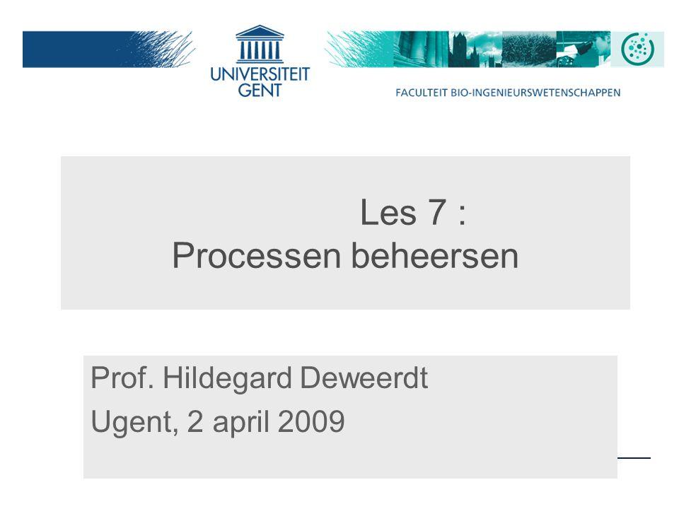 Les 7 : Processen beheersen Prof. Hildegard Deweerdt Ugent, 2 april 2009
