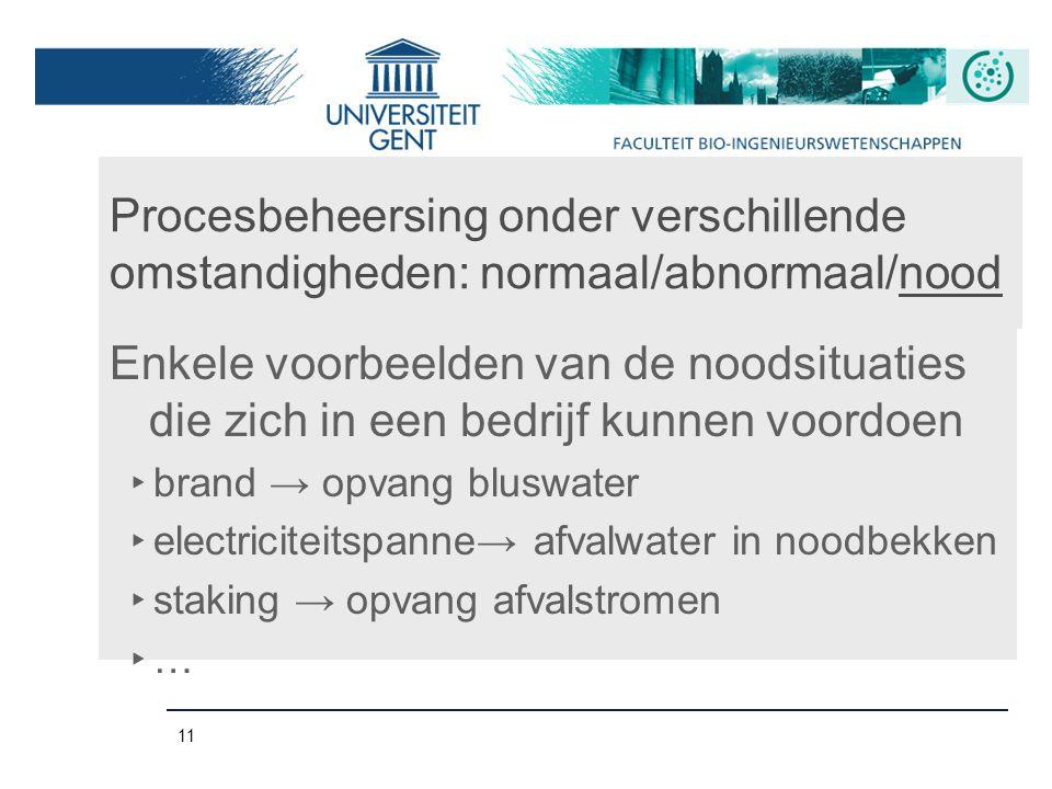 11 Procesbeheersing onder verschillende omstandigheden: normaal/abnormaal/nood Enkele voorbeelden van de noodsituaties die zich in een bedrijf kunnen