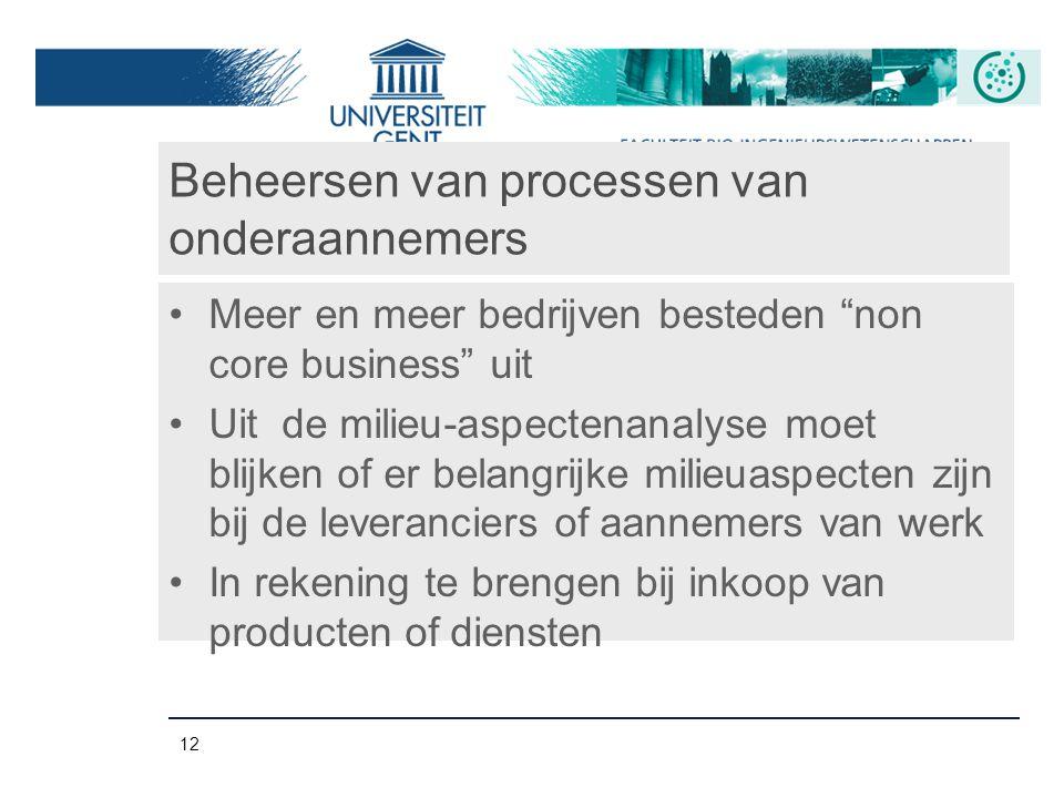 """12 Beheersen van processen van onderaannemers Meer en meer bedrijven besteden """"non core business"""" uit Uit de milieu-aspectenanalyse moet blijken of er"""