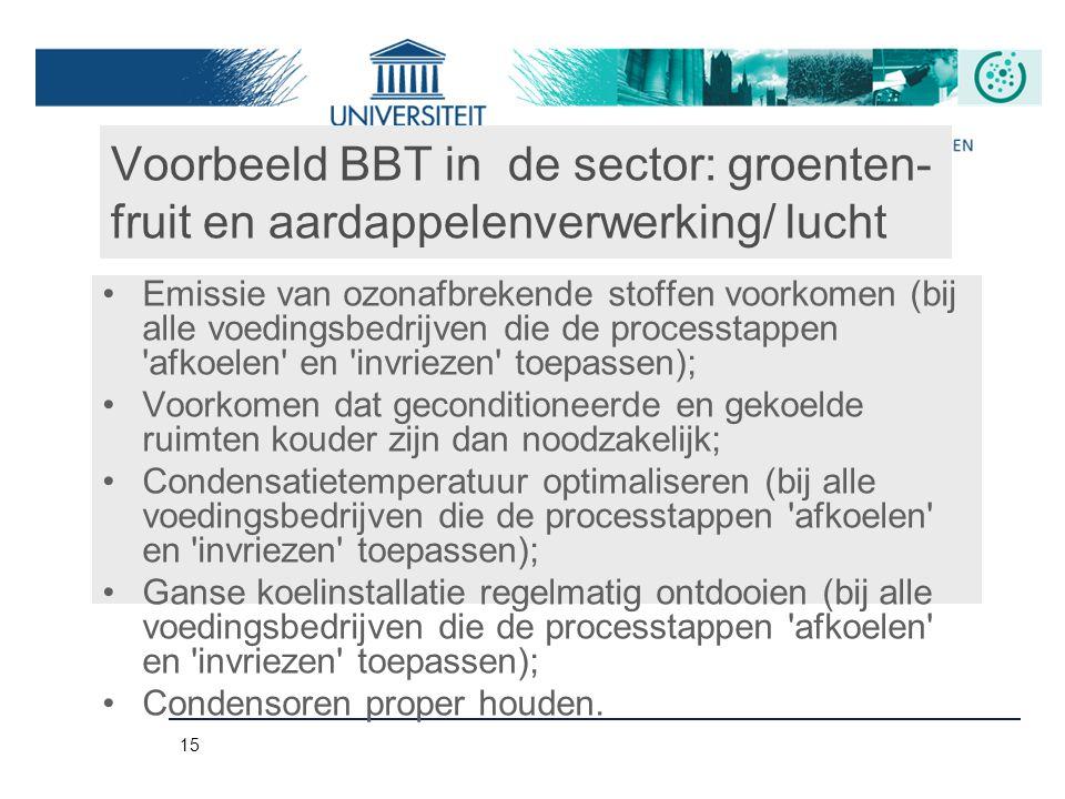 15 Voorbeeld BBT in de sector: groenten- fruit en aardappelenverwerking/ lucht Emissie van ozonafbrekende stoffen voorkomen (bij alle voedingsbedrijve